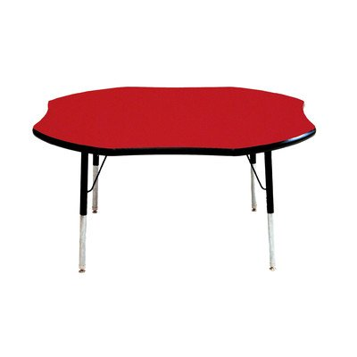 "Mahar 48"" Shamrock Table Top Color: Red, Edge Banding: Burgundy, Leg Height: Toddler 16""-24"", Glide Style: Ball front-1001860"