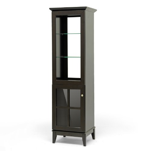 Baxton Studio Nelson Modern Storage Tower, Dark Brown (Interior Designer Glass Doors compare prices)