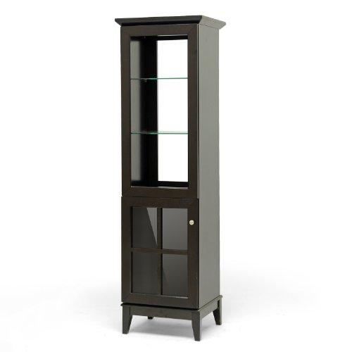 Baxton Studio Nelson Modern Storage Tower, Dark Brown (Interior Designer Glass Doors compare prices)