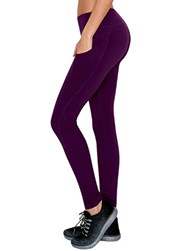 Yogareflex Women's Side Pocket Fitness Workout Running Yoga Active Legging Pants (XS-2XL) , DeepPurple , Medium