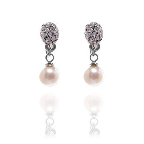 Rodney Holman Diamante Pearl Drop Earrings