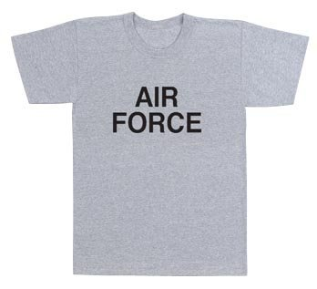 Military Grey Physical Training T-Shirt W/ Air Force Logo (Med)