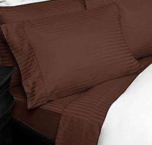 Luxury chocolate brown striped 600tc for Best egyptian cotton bed sheets