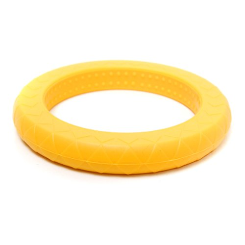 Siliconies Teething Ring (Chewy Bangle with Sensory Bumps) Saffron-Yellow - 1