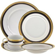 10 Strawberry Street Sahara Black 20-Piece Dinnerware Set with Cup and Saucer, White with Black and Gold Border