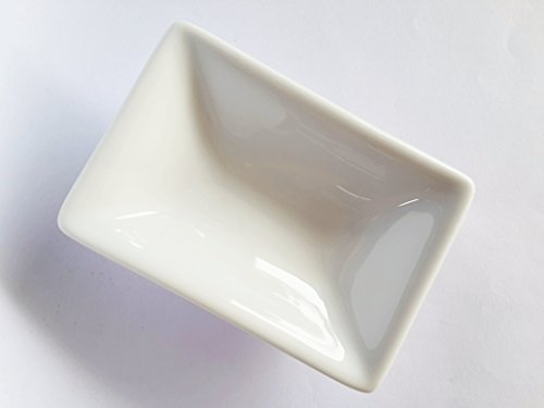"(Set Of 2) Amatahouse Elegant Rectangular Sauce Dish Sushi Wasabi Plates Soy Sauce Dipping Bowls Royal Porcelain Classic White 2-3/4X4"" Restaurant Quality, Commercial Grade - Microwave And Dishwasher Safe"