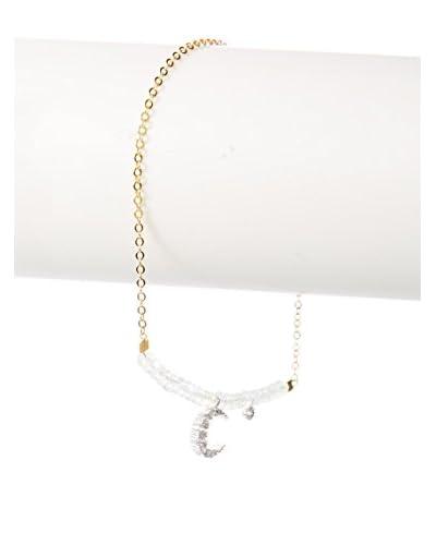 Indulgems CZ Crescent Moon Charm & Aquamarine Bead Bracelet