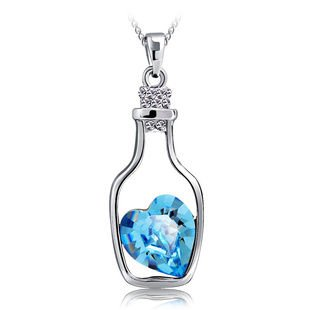 Rhodium plated sterling silver message in the bottle blue crystal rhodium plated sterling silver message in the bottle blue crystal pendant necklace length 18 by necklaces for women aloadofball Image collections