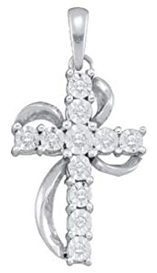 Pricegems 14K White Gold Ladies Round Brilliant Diamond Cross Pendant (1/4 cttw, I-J Color, I1/I2 Clarity)