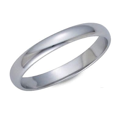 3.0 Millimeters White Gold Heavy Wedding Band Ring 18kt Gold, Plain Half Round Style PHR03, Finger Size 7½