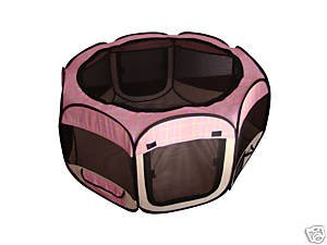 Pet Travel, Indoor Or Outdoor Dog Cat Puppies Kitten Play Yard *Pink Plaid* *Medium*