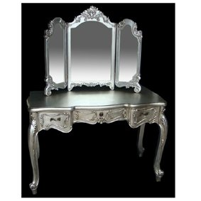 Antique Silver French Style Dressing Table With Mirror