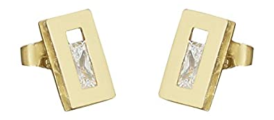 Hobra/Gold Designer Earrings 585 Gold Square with Cubic Zirconia - Earrings 14 K