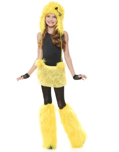 Childs Girls Yellow Club Rave Furry Monster Leg Warmers