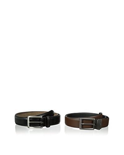 Dockers Men's 2 Belts In A Box Brown Reversible and Black Dress Belts