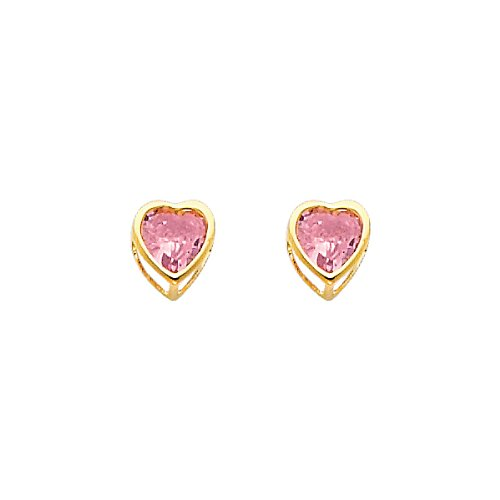 14K Yellow Gold Plated October CZ Birthstone 4mm Heart Bezel Stud Earrings for Child & Women (Pink Tourmaline, Light Pink)