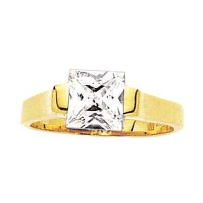 18K Gold Plated Clear Cubic Zirconia Square Solitaire 7 mm Engagement Ring - Size 4.5