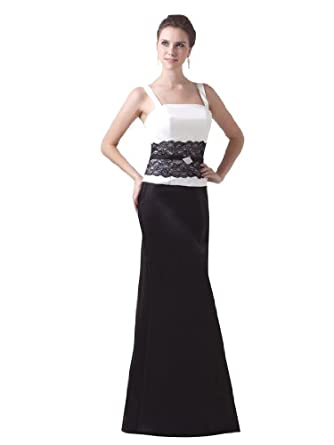 Topwedding Satin and Lace Floor Length Evening Dress, Picture Color, 2
