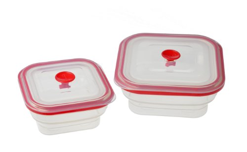 Creo Collapsible Airtight Food Storage Containers, Freezer to Oven Safe, Set of 2