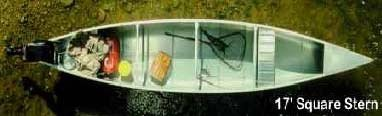 17' Square-Stern Canoe Aluminum Finish