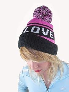 Love Beanie Hat Pink Heart Black Winter with Pom