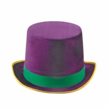 Vel-Felt Top Hat (golden-yellow, green, purple) Party Accessory  (1 count) - 1