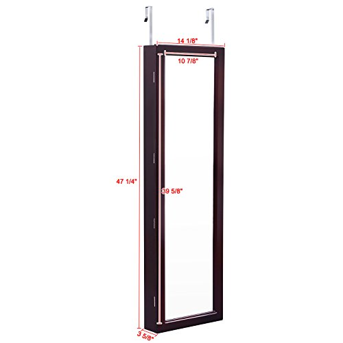 SONGMICS-Lockable-Jewelry-Cabinet-Wall-Door-Mounted-Jewelry-Armoire-Organizer-with-Mirror-LED-Light-Brown