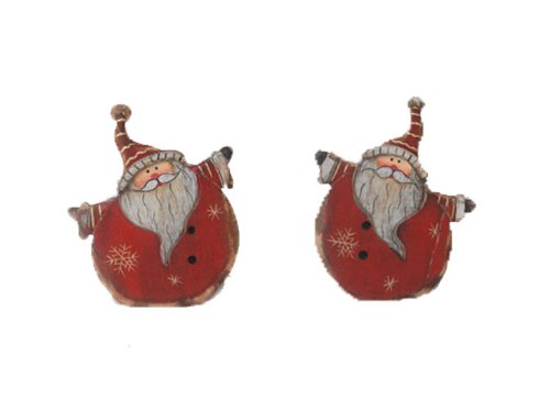 Craft Outlet Wooden Santa Figurine, 2.75 by 3.25-Inch, Set of 2