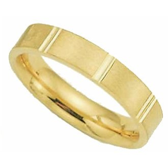 4.00 Millimeters Yellow Gold Wedding Band Ring 10Kt Gold, Comfort Fit Style SE24-226Y by Wedding Rings by Oromi, Finger Size 9½
