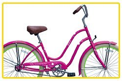 Steel Frame, Micargi Sakura 1-speed (Pink/green) Women's 26