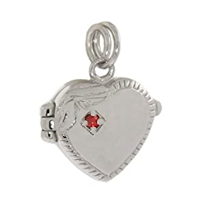 Sterling Silver Heart Locket Charm with Red CZ
