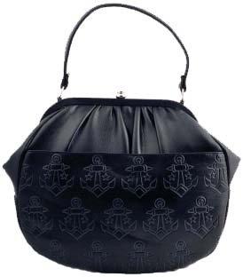 Lux de Ville Retro ANCHORS AND STARS Embossed Deluxe Clutch Handbag