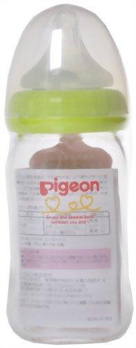 Pigeon Breast Milk Feel the Heat Baby Bottles Glass 160ml Light Green