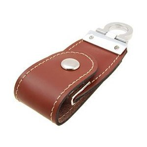 4GB Leather USB 2.0 Flash Disk Drive with Polished Key Ring Brown from ZUBER
