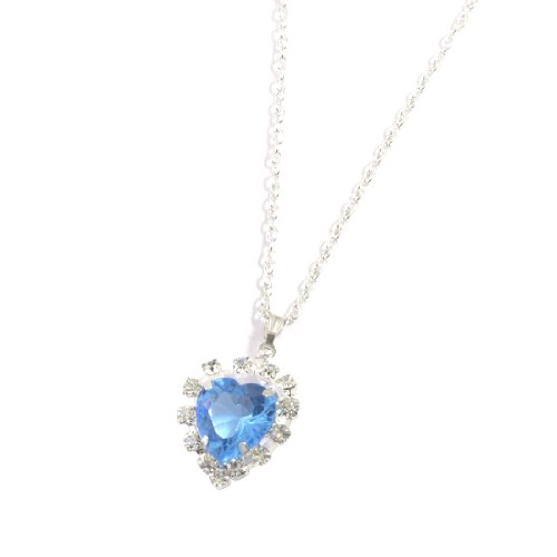 Rosallini Woman Light Blue Faux Heart Shape Crystal Pendant Silver Tone Necklace