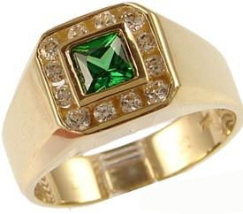 14K Yellow Gold, Fancy Ring For Men Guy Gent With Brilliant Lab Created Gems Dark Green Center 5.5Mm 1.0Ct