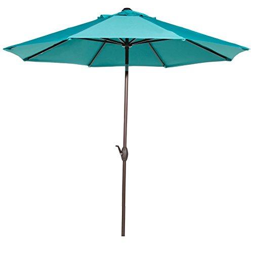 Abba Patio 9' Fade Resistant Sunbrella Fabric Patio Umbrella Outdoor Market with Auto Tilt and Crank, Turquoise