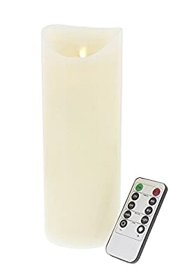 9 Inch Flameless Decorrative LED Candle - Real Flickering Candle Motion - with Remote On/Off and Timer - Ivory by Juvale