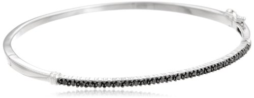Silver Black Diamond Bangle Bracelet (0.25 cttw)
