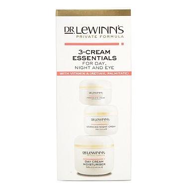 Dr Lewinn's 3 Cream Essentials with Vitamin A: Day Cream Moisturiser, 56g, Advanced Night Cream, 30g, and Firming Eye Cream, 15g
