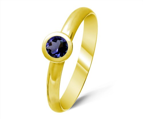 Timeless 9 ct Gold Ladies Solitaire Engagement Ring with Iolite 0.40 ct