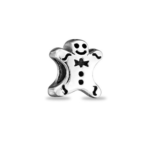 Bling Jewelry Sterling Silver Gingerbread Man Cookie Charm Bead Fits Pandora