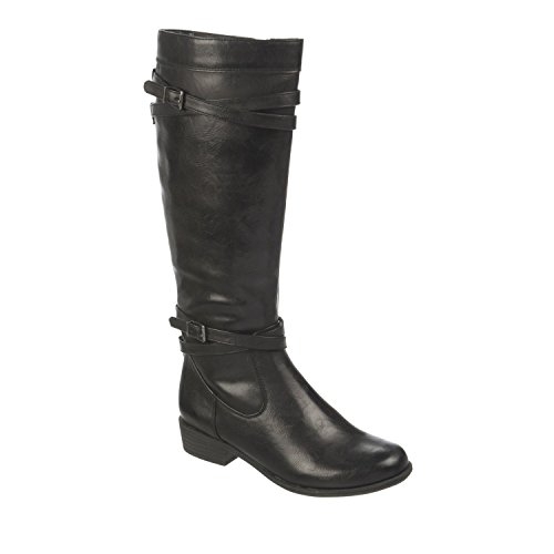 Naturalizer Women's Victorious Wide Shaft Black Synthetic Calf Riding Boot 5.5 US (Naturalizer Extra Wide Shoes compare prices)