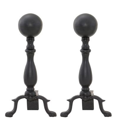 Black Ball Andirons, Pair front-33143