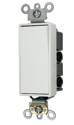 20 Amp, Decora Plus Rocker Double-Pole AC Quiet Switch, 120/277 Volt, Commercial Grade, Back & Side Wired, Self Grounding, Black/Grey/Ivory/Light Almond/White, 5622-2