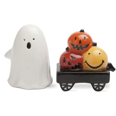 Ghost and Pumpkin Salt and Pepper Shaker Set