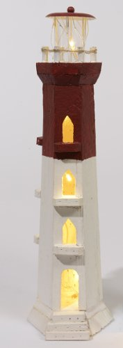 "18"" Lighted Burgundy Red And White Striped Decorative Lighthouse - Warm White Led Lights"
