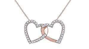 Round-Cut White Natural Diamond Double Heart Pendant in 14k Rose Gold Over Sterling Silver (1/6 cttw)