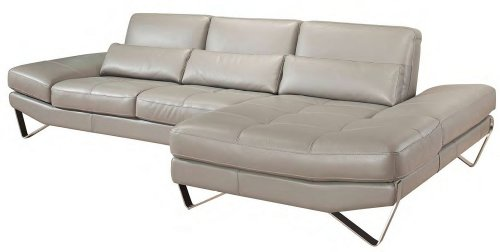 J&M Furniture 833 Full Grey Italian Leather Sectional Sofa With Adjustable Armrests Left Hand Facing By Nicoletti front-1015076