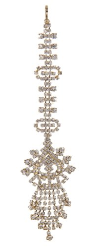 Designer gold plated mang tika adorned with stones PMO